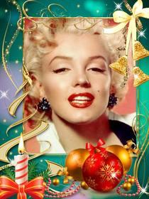 Carte postale avec des décorations de Noël pour mettre votre photo.
