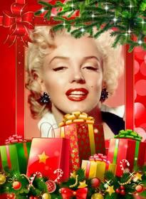Cadre de Noël avec de nombreux cadeaux à personnaliser avec votre photo.