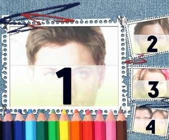 ideal pour le retour lquotecole fond denim et crayons couleur votre image apparait dans le cadre dquotimage avec des bandes portable