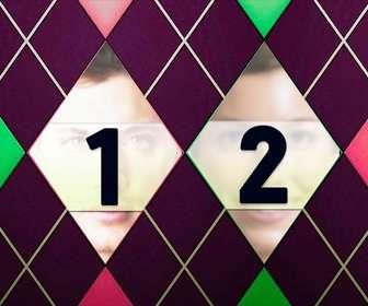 collage deux images avec un diamant motifs vert rose et violet tweed