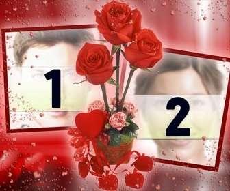 cadre photo ou vous pouvez mettre deux images qui semblent relies eux par des roses fond rouge avec des coeurs