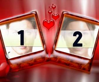 cadre pour deux photos avec un fond rouge et les cœurs ideal pour les amoureux le jour valentines tres elegant