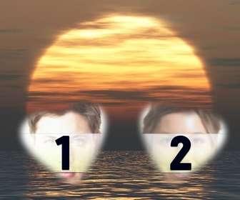 carte personnalisable avec deux photos forme cœur avec un coucher du soleil et le fond marin