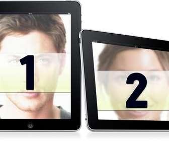 mettez-vous dans deux cadres simple envoyez deux photos pour ce montage dans lequel les images apparaissent sur deux cadres photo numeriques sur un fond blanc