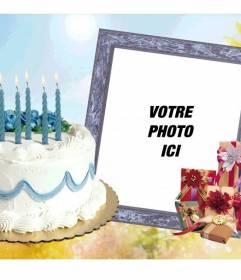 Cadre photo avec un gâteau danniversaire et cadeaux