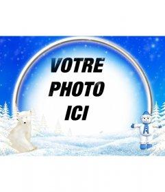 Cadre photos de paysage enneigé, lours polaire et bonhomme de neige