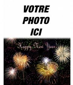 """Carte de Noël, nous avons accueilli la nouvelle année en anglais. On peut insérer une photo au-dessus d""""un ciel de nuit de feux d""""artifice"""