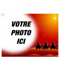 Carte de Noël dans laquelle votre photo apparaîtra dans un cadre circulaire avec effet de dégradé sur les bords, sur un tableau de couleurs chaudes représentant les trois sages sur des chameaux Orient