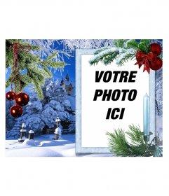 Carte de Noël avec votre photo sur un cadre rectangulaire blanc
