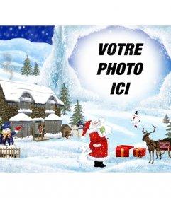 Carte de Noël avec des paysages de Noël de fond de dessin