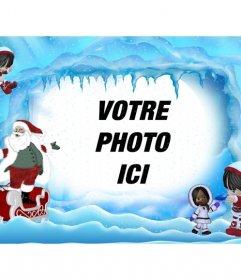 Carte postale de Noël de Santa Claus sur le paysage glacé. Où pouvez-vous mettre une photo en ligne