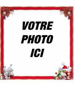 """Noël cadre photo, qith bordure rouge et ornements de Noël. Vous pouvez l""""utiliser comme un salut"""