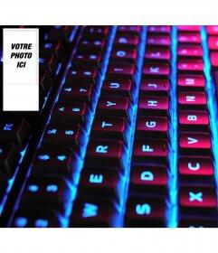 """Concevez votre propre fond d""""écran twitter avec votre image sur le côté. Contexte Illuminated Keyboard"""