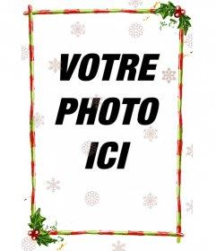 Cadre discret pour une photo, il se compose de bandes rouges avec des bandes vertes, décorées avec des thèmes de Noël. Avec diapositives de différentes configurations de cristaux de glace
