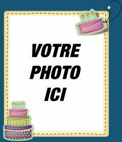 """Modifier une carte d""""anniversaire par l""""ajout d""""un cadre photo numérique à ce fond bleu et les gâteaux raisons anniversaire. Imprimez votre carte ou les envoyer par e-mail, d""""une manière simple et gratuite"""