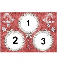Carte de Noël pour 3 photos avec des cadres ronds et cloches de Noël