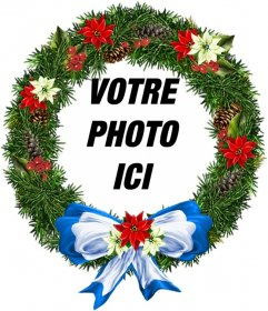 Cadre photo rond Ornement de Noël en forme où vous pouvez mettre votre photo de fond. Pour envoyer par e-mail