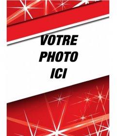 Carte de Noël personnalisable avec une image qui apparaît dans un cadre en forme de bande sur un fond rouge avec des étoiles et d'un cadre blanc.