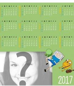 Calendrier 2017 en anglais avec un design de Adventure Time pour ajouter votre photo