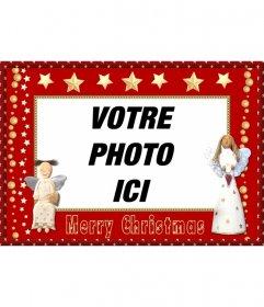 Noël cadre photo avec les anges et les étoiles pour envoyer en guise de salutation