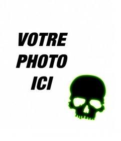 Créer un avatar pour Facebook et Twitter avec un crâne noir avec bordure verte fluorescente sur une photo que vous téléchargez