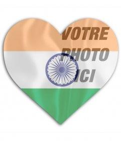 Montage photo du drapeau de lInde avec la forme de coeur à mettre sur votre image