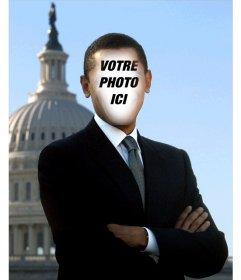 Photomontage de Barack Obama, président des Etats-Unis pour mettre votre photo