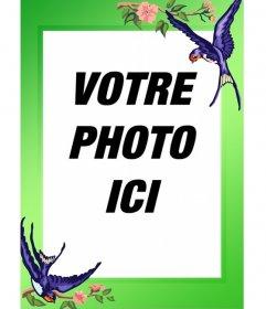 Oiseaux cadre photo et la frontière verte à voir avec vos images