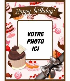 Carte postale d'anniversaire avec une photo et un texte de personnaliser et de gâteaux petits gâteaux roses et les bruns et un grand arc.