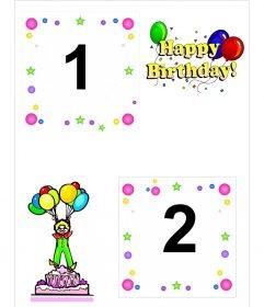 """Carte d""""anniversaire pour deux photos, avec des motifs de gâteau, clown et ballons"""