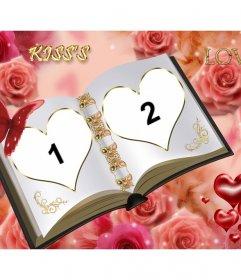 """Cadre photo personnalisable avec deux photos séparées. Livre de l""""amour avec des ornements de roses"""