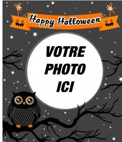 Cadre photo Halloween avec un hibou