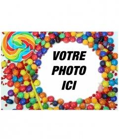 Pour des photos avec bordure décorative de bonbons et sucettes. Cadrez votre image et enregistrer ou envoyer un courriel au résultat.