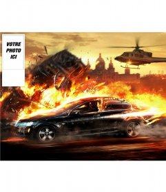 """Mettez votre photo twitter d""""une voiture de course brûlante avec votre photo sur le côté"""