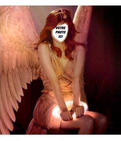 Placez votre visage dans une femme rousse avec des ailes dange avec cet effet