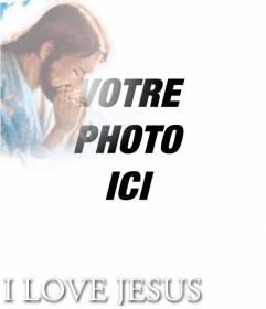 Mettez votre photo dans le texte I LOVE JESUS avec votre photo dans un coin