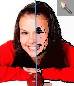 """Images Cartoonizer filtre. Votre image dessinée dans des couleurs pastel. Vous pouvez appliquer l""""effet et enregistrer ou envoyer les résultats par e-mail"""