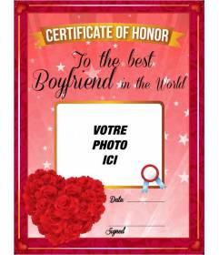 Certificat personnalisable romantique au meilleur ami dans le monde avec un coeur fait de roses rouges