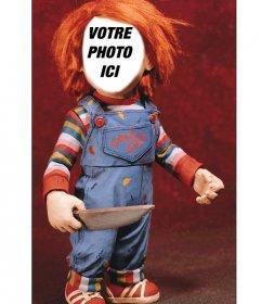 Photomontage de Chucky avec un couteau pour mettre votre visage