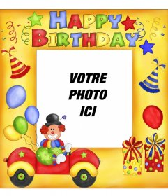 Carte postale Happy Birthday avec clown et ballons