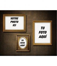 Mur avec 3 cadres dorés pour mettre vos photos avec une touche vintage rétro