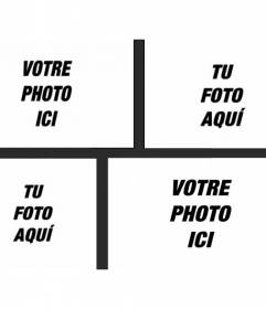 Collage avec 4 images séparées par un cadre noir où vous pouvez placer des images différentes de différentes tailles et appliquer un filtre de photo et ajouter du texte