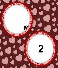 Belle photomontages pour ajouter deux photos dans les cercles décoratifs et leffet Idéal coeurs pour télécharger une photo de votre partenaire et le vôtre et ajoutez-les dans les cercles décorées et avec un fond de beaucoup de cœurs et vous pouvez partager sur votre réseau ou dimpression pour enregistrer ce collage mignon .