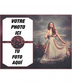 Collage pour deux photos avec une fille dans un champ