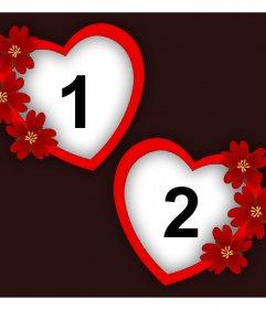 Photomontage de lamour avec deux cadres de coeurs et des fleurs pour deux photos