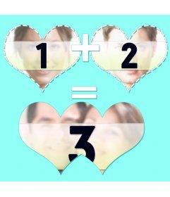 Collage de trois photos avec deux coeurs joindre et fusionner résultat