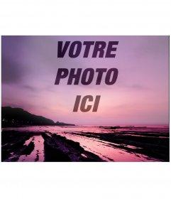 Collage de photos pour mettre une image sur la transparence sur un beau coucher de soleil dans des tons violets
