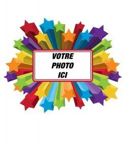 """Cadre photo d""""étoiles de couleur, que vous pouvez mettre votre photo en arrière-plan"""