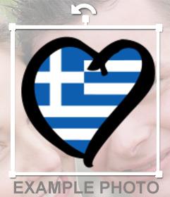 Forme de coeur de drapeau de la Grèce à mettre sur vos photos de profil comme un autocollant