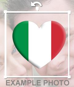 Coeur avec le drapeau de lItalie pour coller partout sur vos photos